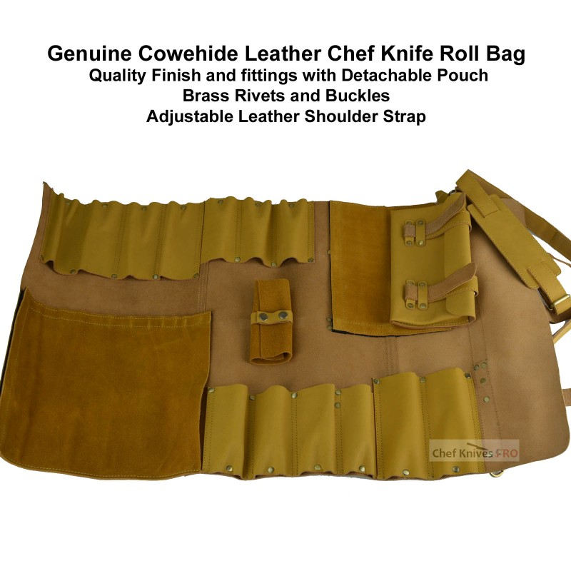 CKP Genuine Leather Knife Roll Bag 13 slots with pouch