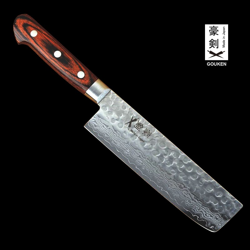 Gouken Vg10 Damascus Hammered Steel Usuba Nakiri Knife 160mm