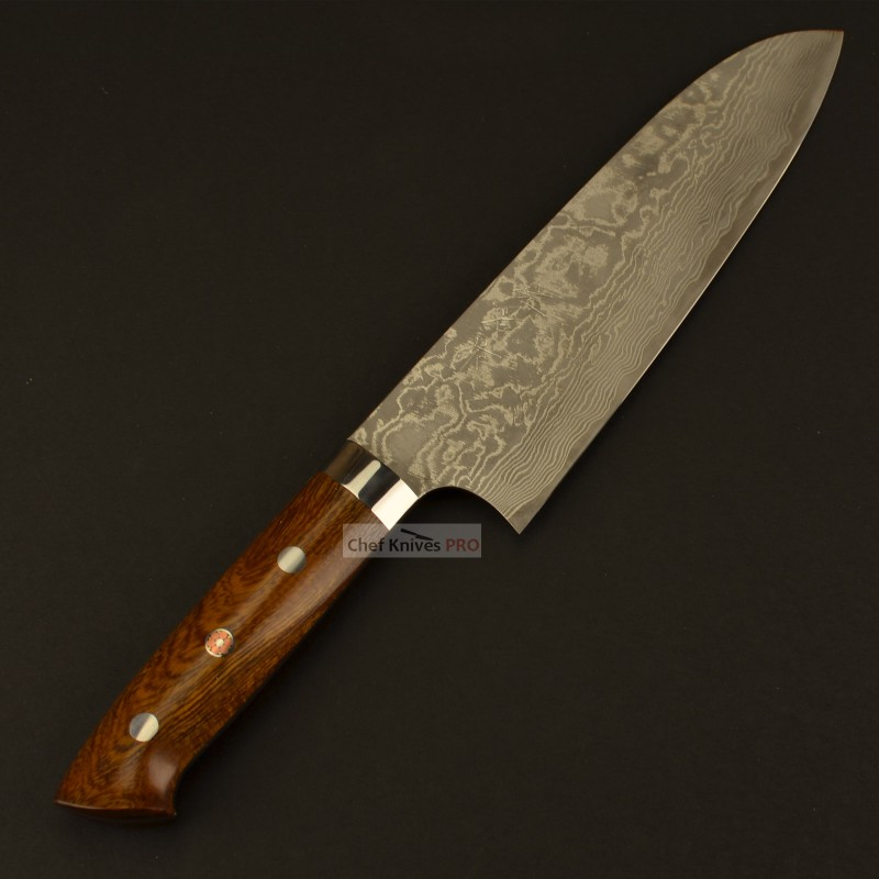 Takeshi Saji R2 Powder steel Damascus Santoku Knife Ironwood Handle with wooden gift box