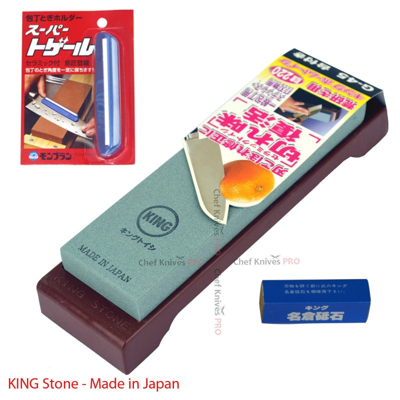 King G-45 #220 Grit Sharpening Stone Whetstone + Sharpening Clip + Nagura