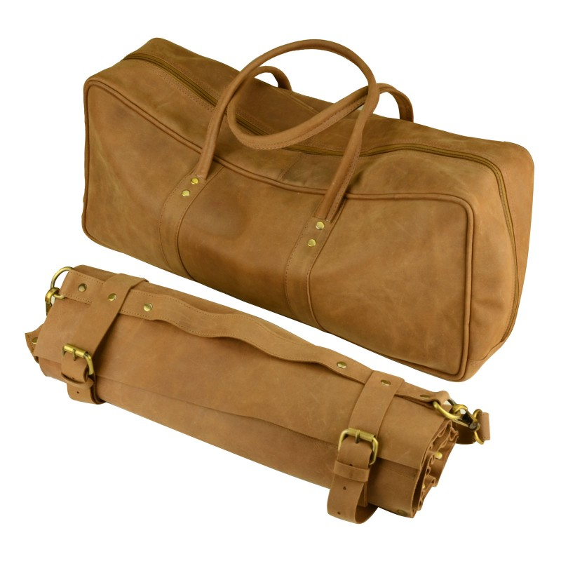 Genuine Tanned Leather Chef Knife Roll Bag & Duffle Culinary Carry Bag Combo