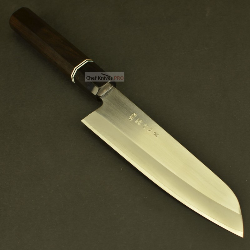 Gihei HAP40 Hand Forged Santoku Knife 165mm Octagon Ebony handle