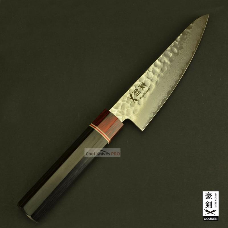 Gouken Octagon Handle Vg10 Damascus Hammered Steel Small Santoku Knife 135mm