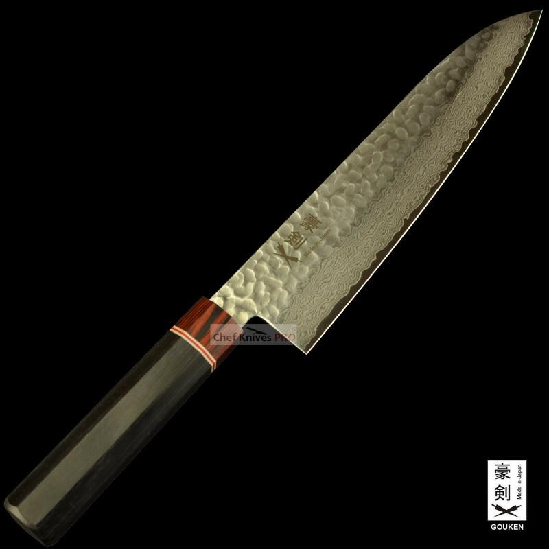Gouken Octagon Handle Vg10 Damascus Hammered Steel 210mm Chef Knife