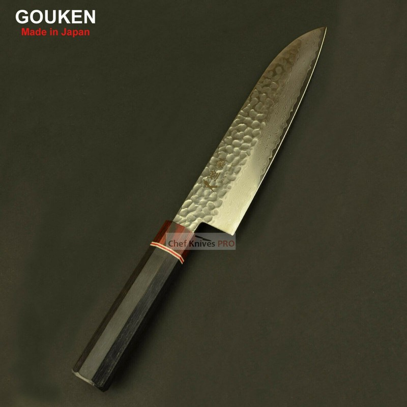 Gouken Octagon Handle Vg10 Damascus Hammered Steel 180mm Santoku Knife
