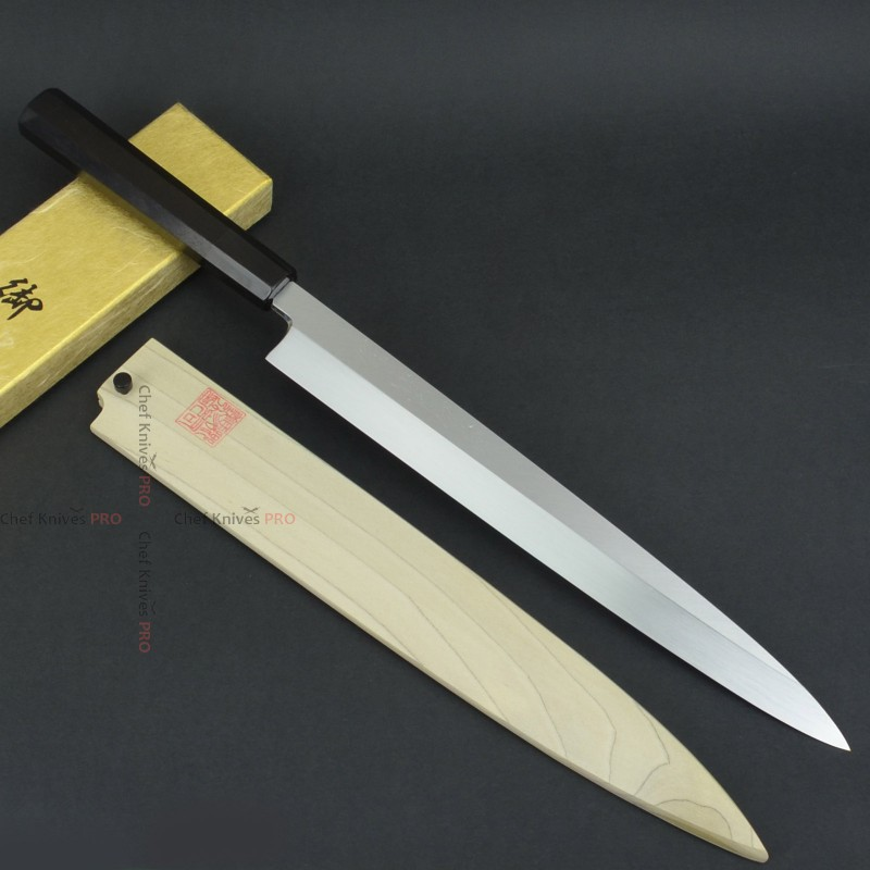 Goh-Umanosuku-Yoshihiro Honyaki Yanagiba Yanagi Water Quenching 270mm Ebony Handle With Saya