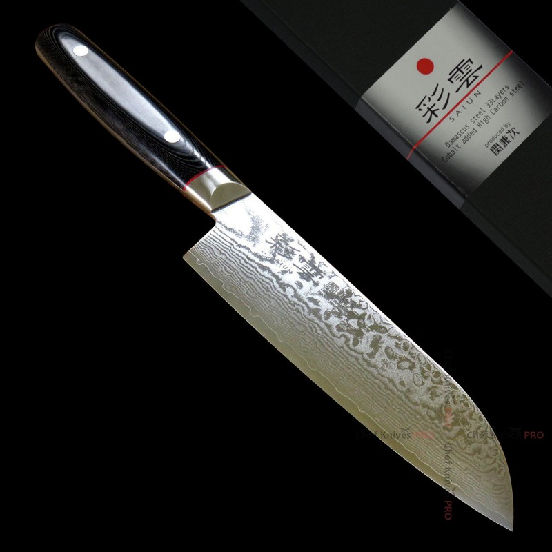 Saiun 彩雲 33 Layers Damascus VG10 Santoku Knife 170mm
