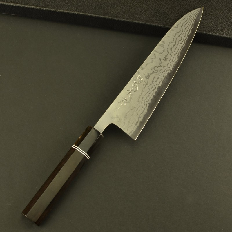 Shigeki Tanaka Blue Steel Damascus Chef Knife with Octagon Ebony Handle