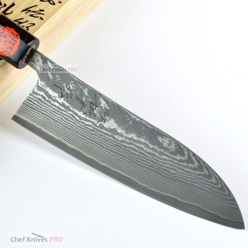 Shigeki Tanaka Special 64 layers Sg2/R2 Steel Santoku Knife 165mm with Wooden Gift Box